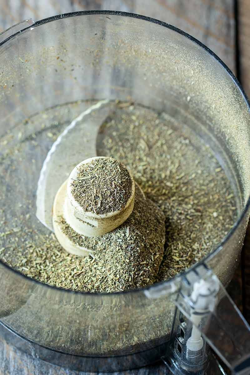 Spices in a food processor after pulsing
