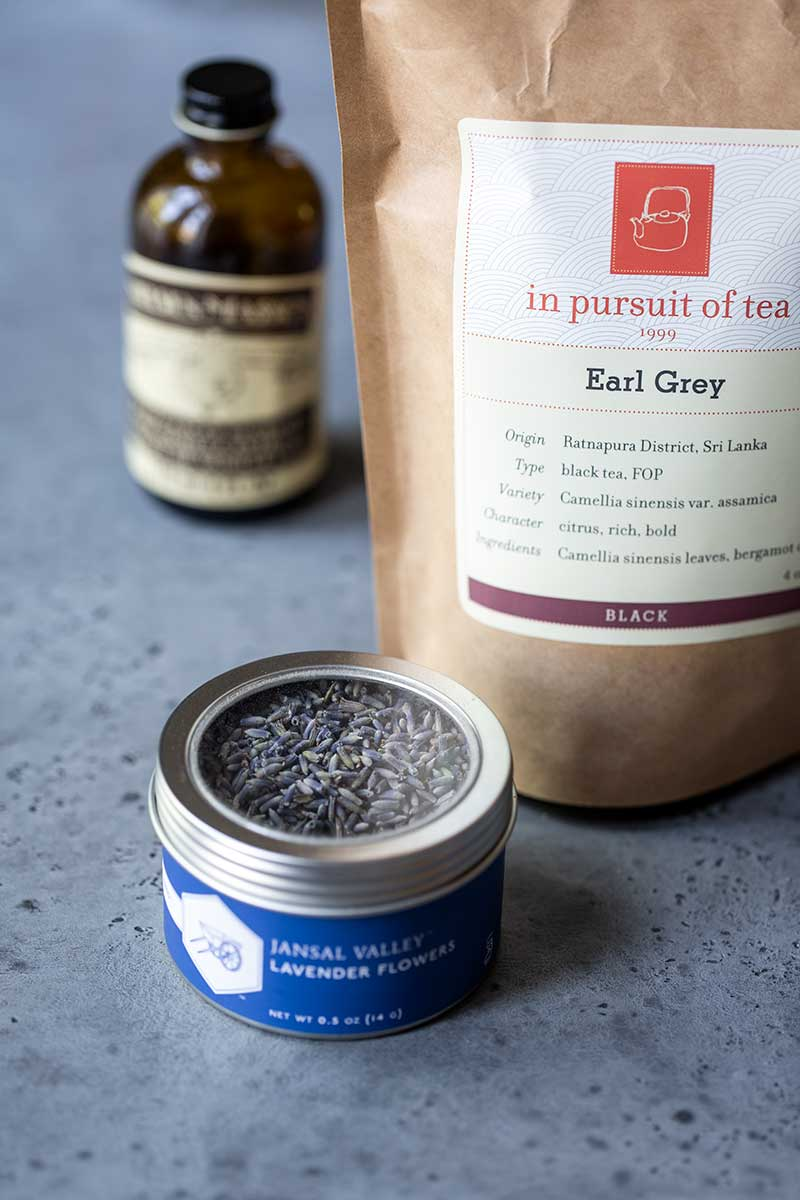 Ingredients for Earl Grey Latte, including lavender, black tea, and vanilla extract