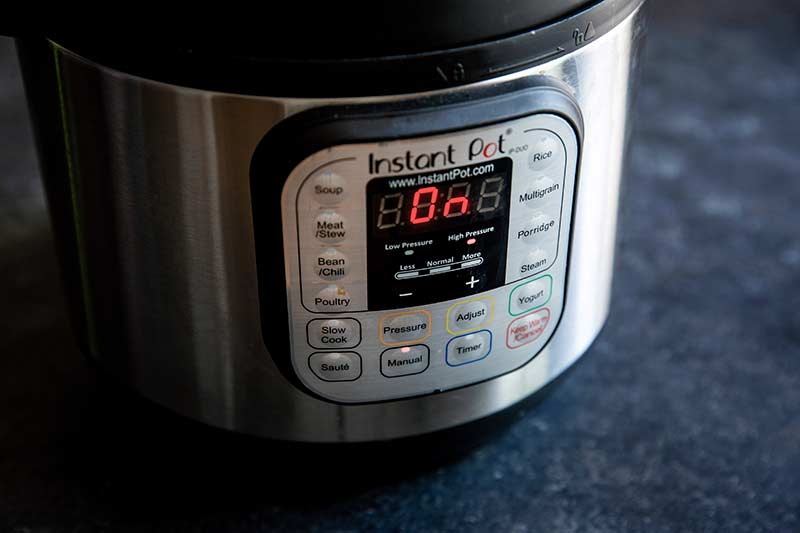 Close up of Instant Pot set to manual mode