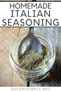 Homemade Italian Seasoning in a mason jar with a spoon and text overlay