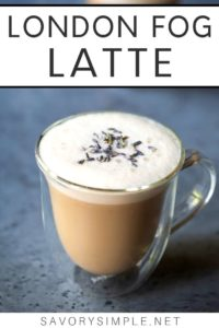 London Fog Drink recipe in a clear mug, topped with dried lavender
