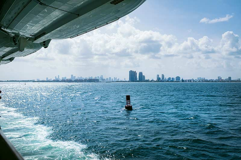 A view of the Miami port from a Carnival ship balcony