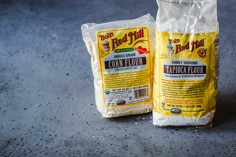 corn flour and tapioca flour bags