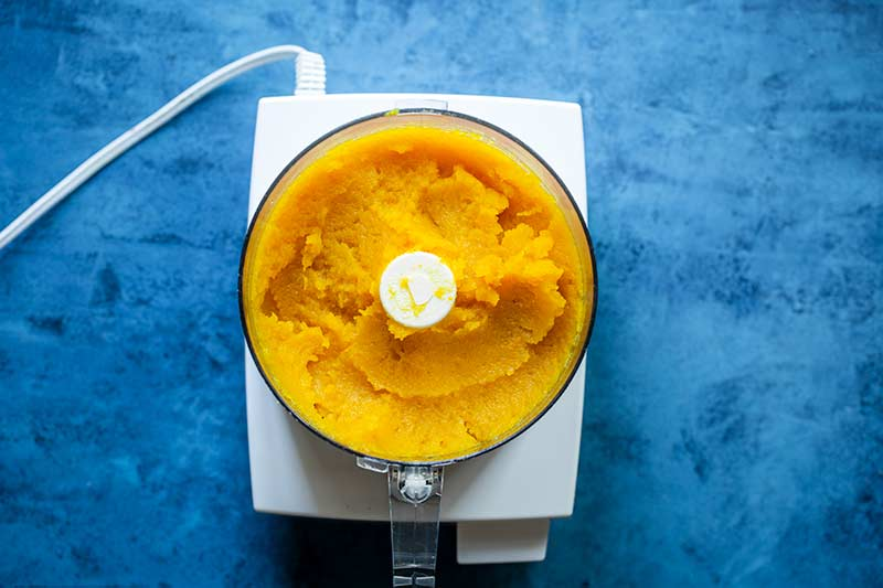 Homemade pumpkin puree in a food processor