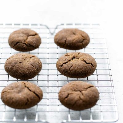 Soft Molasses Cookies on a cooling rack