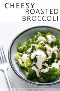 Roasted broccoli with cheese sauce in a bowl with a fork Collage - Cheesy roasted broccoli in a bowl with a fork