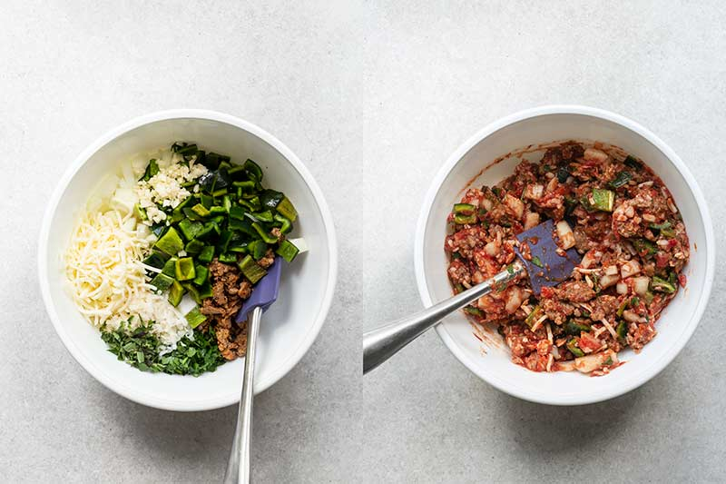 Side-by-side photos of filling, both before and after mixing ingredients