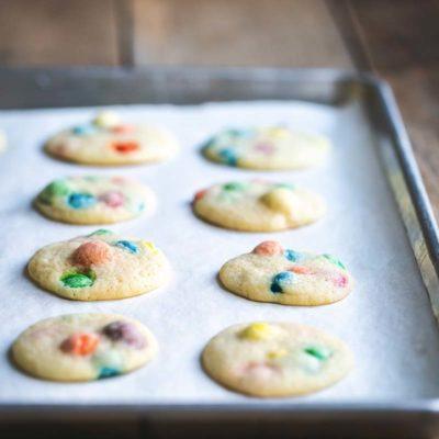 M&M Cookies recipe on a sheet pan