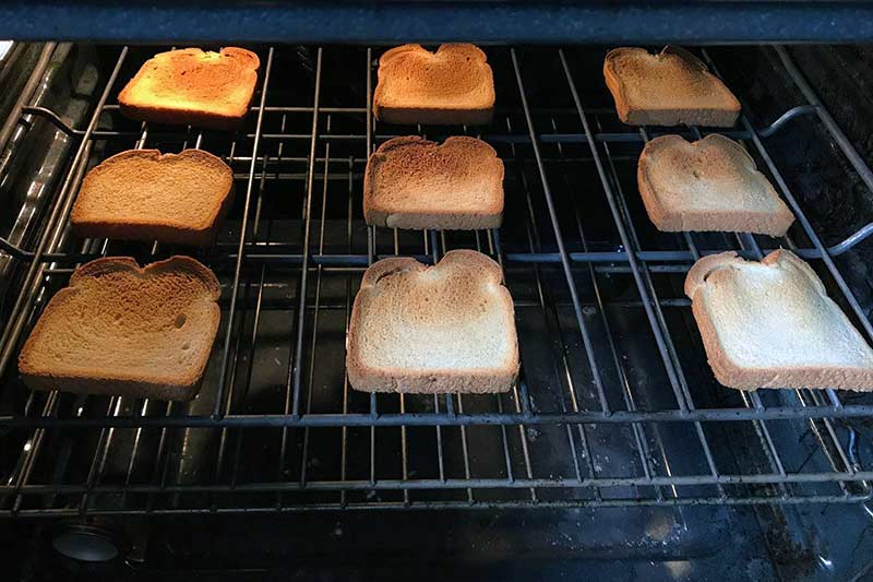 toast lining the inside of an oven shelf
