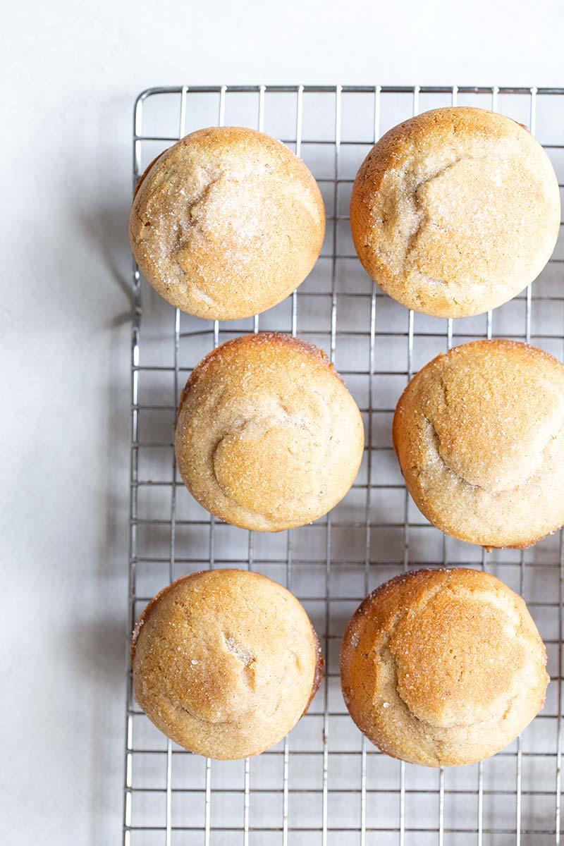 Overhead shot of 7 cinnamon sugar muffins