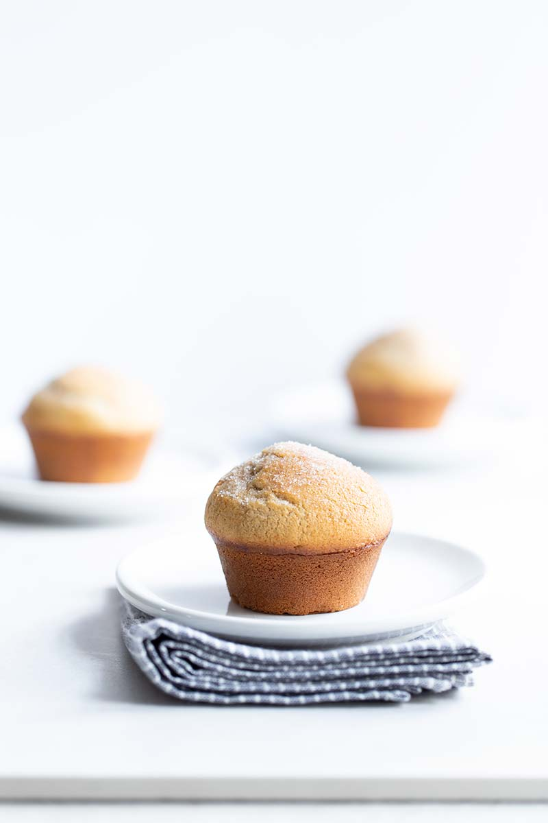 3 muffins on small white plates