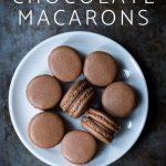 sea salt chocolate macarons on a plate