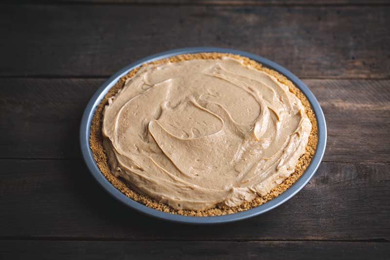 Filling added to graham cracker crust