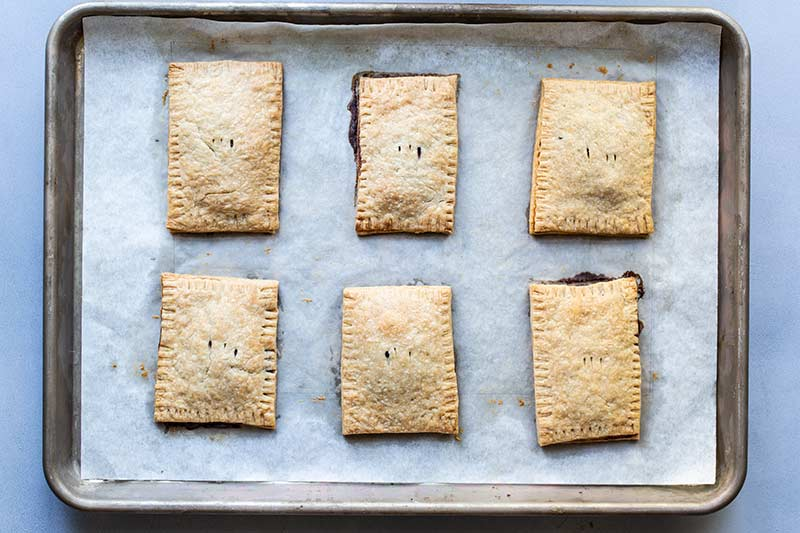 Blueberry pop tarts just out of the oven.