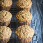 Oat bran muffins recipe on a cooling rack
