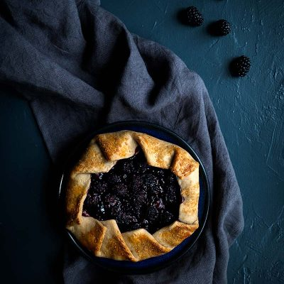 Blackberry galette on a plate