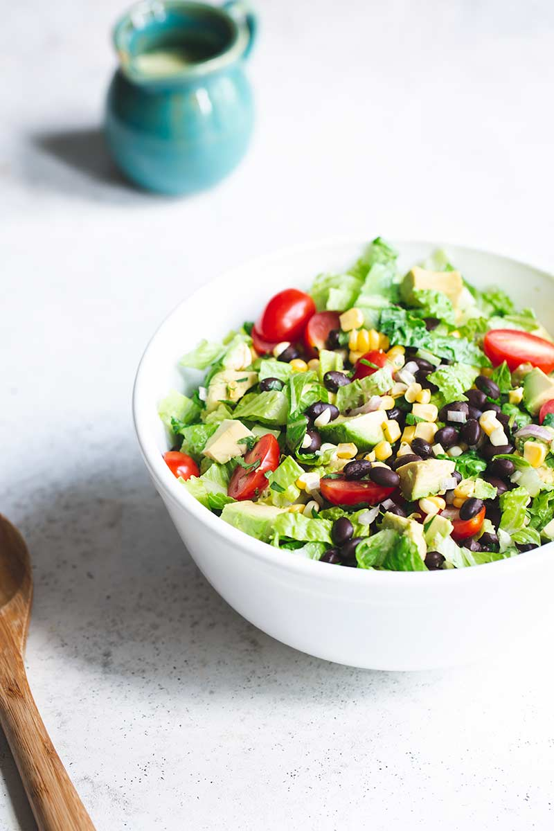 Salad in a bowl before dressing is added