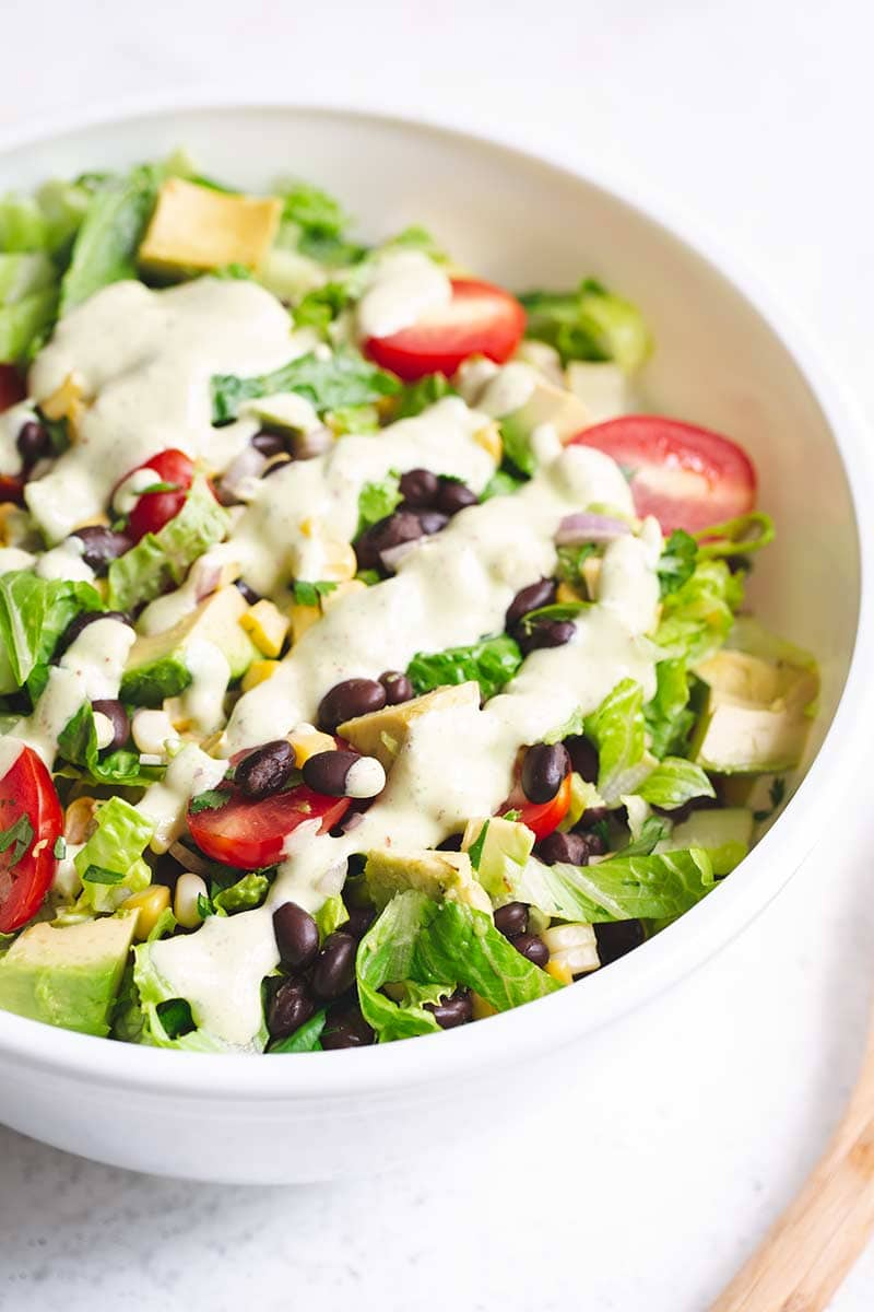Close up of finished chopped salad in a bowl
