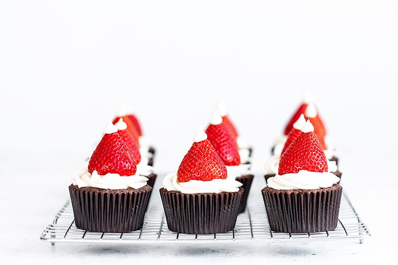 Chocolate Strawberry Cupcakes on a cooling rack