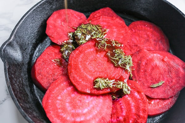 oven roasted beets with olive oil and herbs drizzle