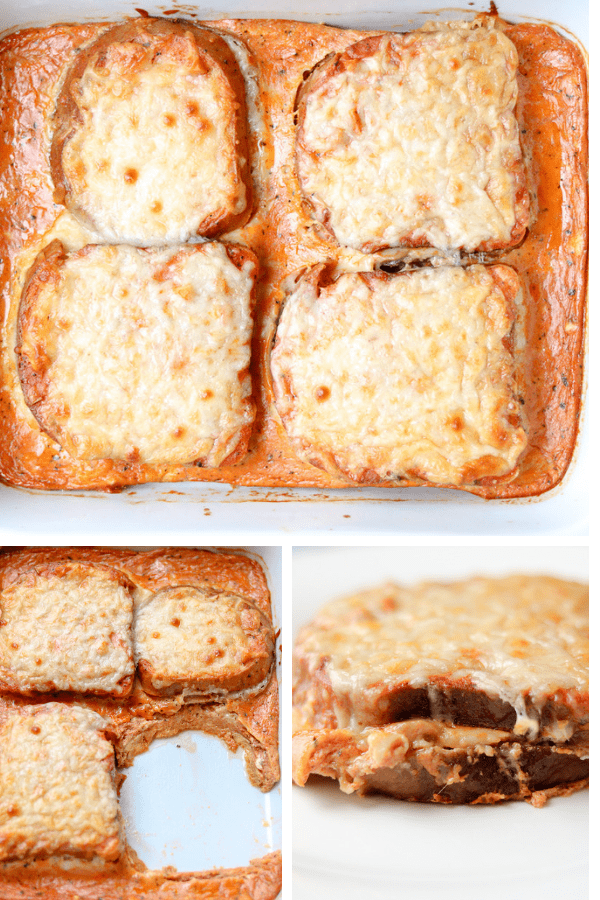 """This Baked Grilled Cheese Sandwich Tomato Soup Recipe is the only baked cheese sandwich casserole you will want to make from now on. It is loaded with tomato sauce, cheese, and it is """"similar to a savory French toast casserole"""". No additional dipping required. #bakedgrilledcheese #grilledcheese #tamatosoup #fallsoup #seasonalsoup #grillcheese #tomatosoupwithgrilledcheese"""