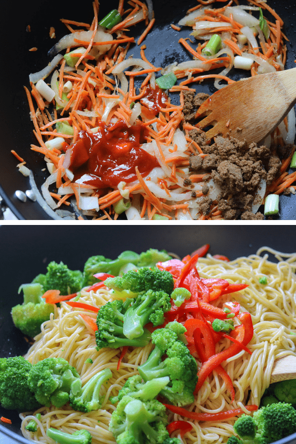 This Vegetable Lo Mein Recipe is prepared with a handful selection of vegetables. It is ready in 30 minutes or less and contain ingredients such as sriracha sauce for a little heat, sesame oil, brown sugar and soy sauce to name a few
