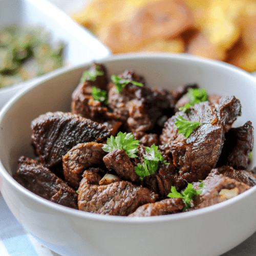 Savory Thoughts - Haitian Tasso (Steak Bites, Fried Beef Tips, Beef Bites). Haitian Tasso is famous in Haiti. In other parts of the world they are called steak bites, fried beef tips, or beef bites. I call them mouthwatering! Not to mention they are gluten-free!