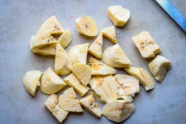 Plantain Bread - Plantain Cake - Cut up plantains for plantain bread recipe