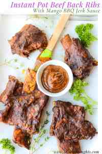 Instant Pot Beef Back Ribs are the most succulent fall-off-the-bone ribs. With this recipe, we bring a small taste of the Caribbean by coating it with a Homemade Mango BBQ Jerk Sauce. Instant Pot Beef Back Ribs | How To Cook Instant Pot Ribs | BBQ Beef Ribs Instant Pot | Pressure Cooker Beef Ribs Rack | #instantpotbeefbackribs #howtocook #BBQbeefribs #pressurecookerribs