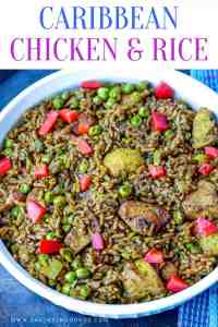 Unbelievable Caribbean Chicken and Rice Recipe that's flavorful and make an easy one-pot meal which is perfect for meal prep. Caribbean Chicken and Rice | Chicken and Rice Baked | Chicken Rice Casserole Recipes | Savory Thoughts #chickenandricedbaked #caribbeanchickenandrice #chickenricecasserolerecipes #savorythoughts