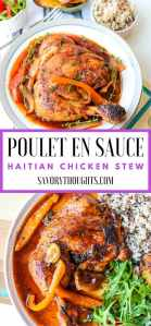 Learn how to make Poulet En Sauce (Authentic Haitian Chicken Stew). This poule en sauce recipe is full of amazing flavors. The meat is pan-seared, then simmered in a rich, dark stew sauce. A quick version that's made in a little over 30 minutes, but tastes like it's been simmering all day! Poulet En Sauce | Poul En Sauce | Haitian Chicken Stew | Authentic | Haitian Food | Savory Thoughts #pouletensauce #poulensauce #haitianchickenstew #haitianfood #haitianrecipes