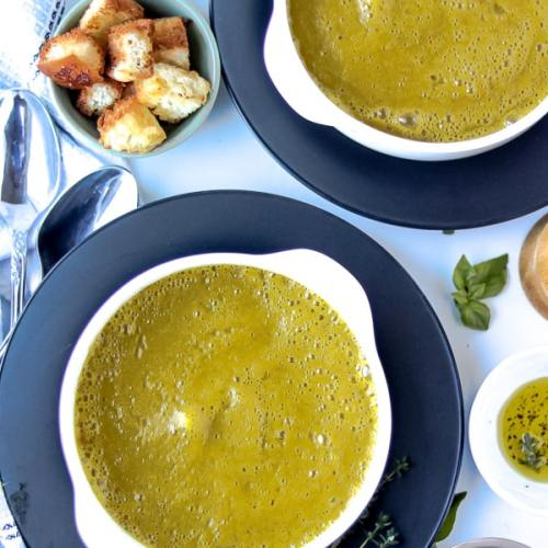 Green soup butternut squash soup in two bowls