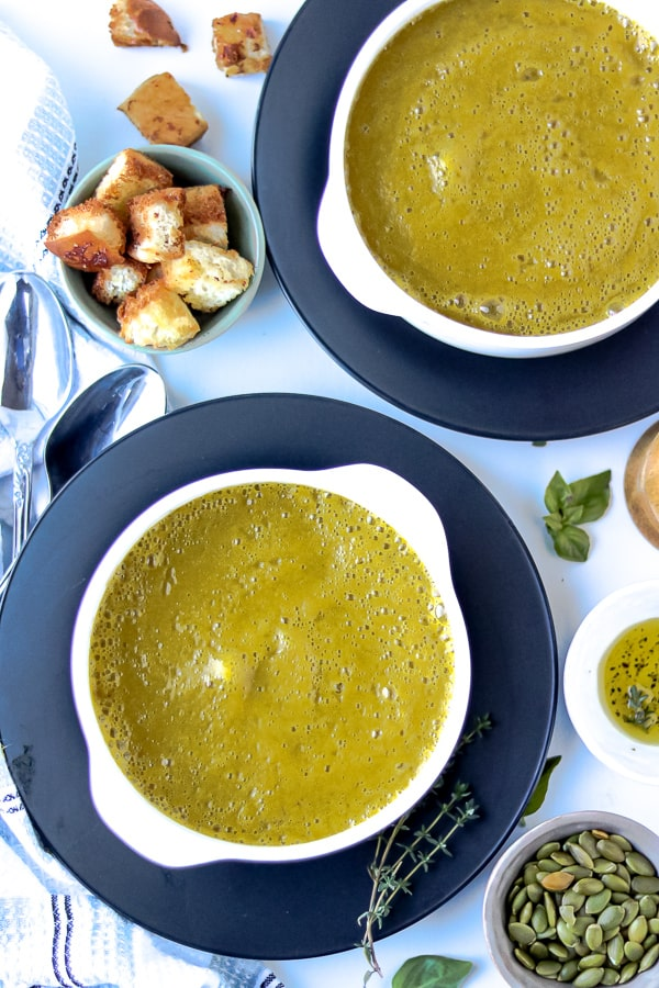 Goddess Green soup in two bowls