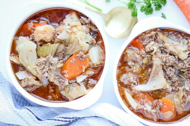 low carb soup in white bowls