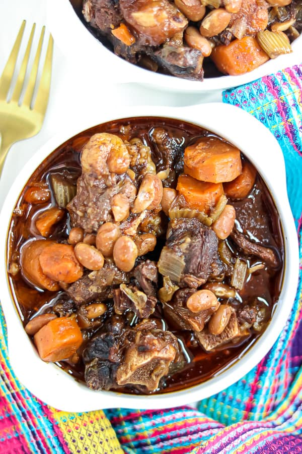 Oxtail Stew recipe in white bowls -instant pot