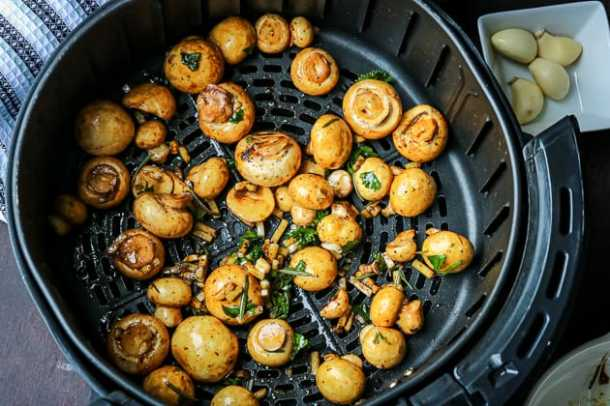 Raw Mushrooms in the air fryer
