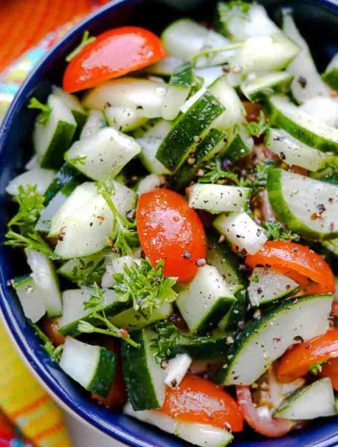 Cucumber Salad in blue bowl