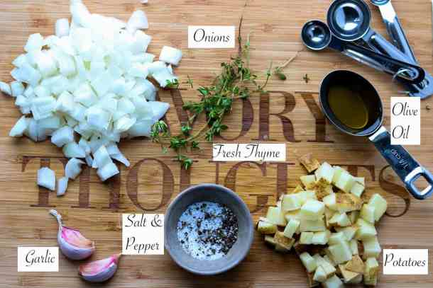 Ingredients listed on cutting board