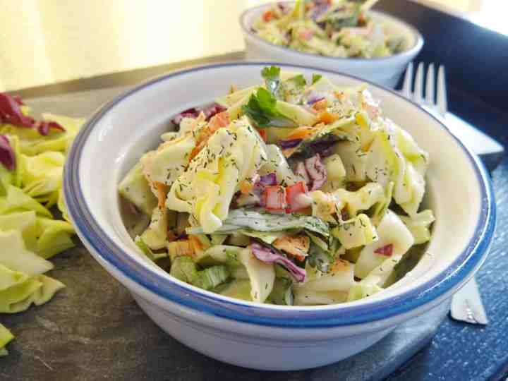 Healthy Coleslaw Recipe with lemon dill dressing