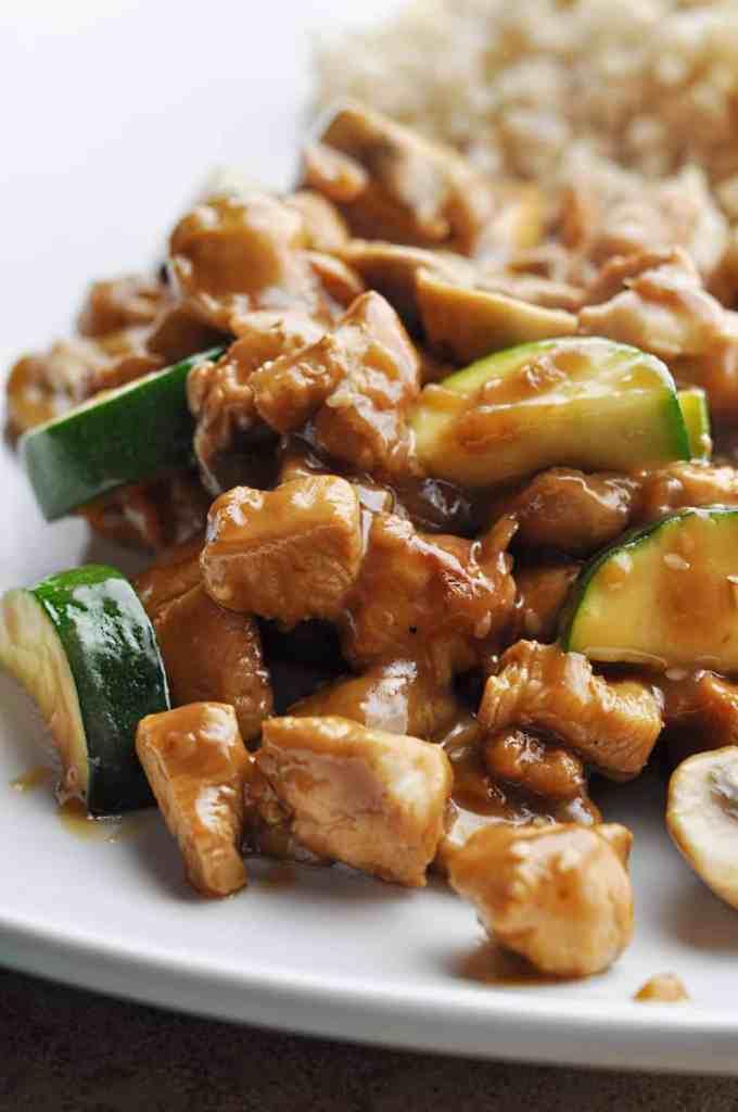 Panda Express Mushroom Chicken copycat recipe with rice on plate