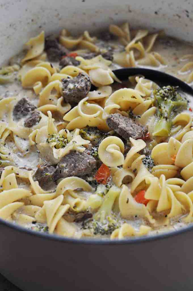 Steak Pasta Soup with broccoli