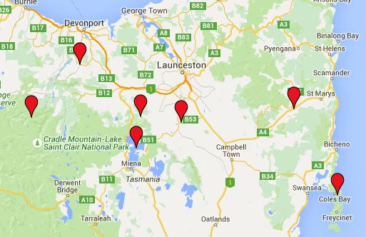 carte tasmanie parcours trajet