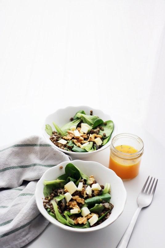 salade lentilles vegan mache pomme verte sauce à l'orange vivien paille