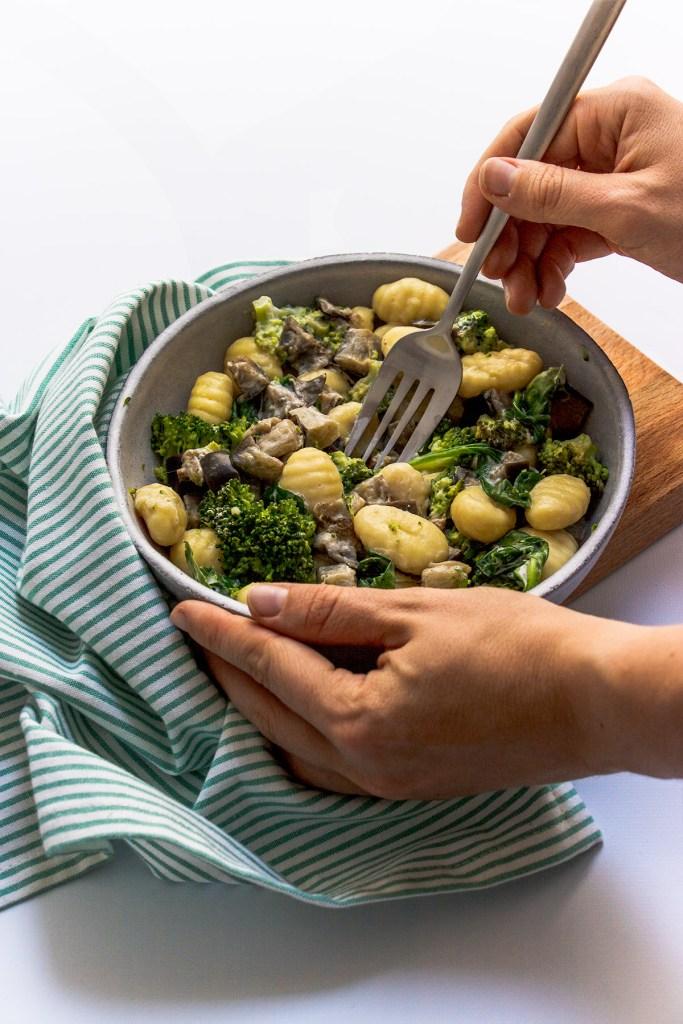 recette gnocchis aubergine brocoli coco vegan