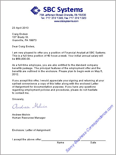 Job Offer Templates. job offer letter with salary reference resume ...