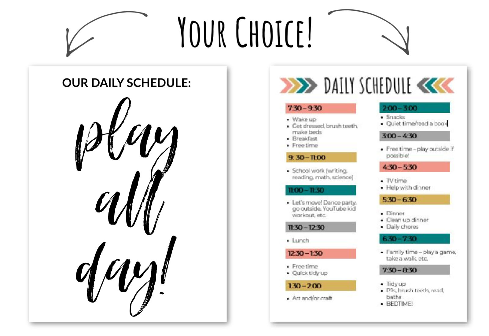 Free Daily Schedule Printable Duo