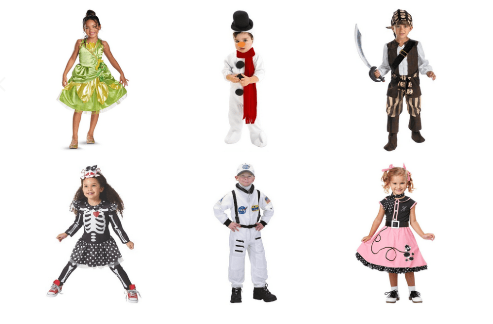 Toddlers wearing Halloween costumes