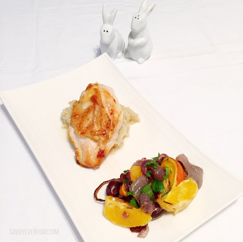 Sun Basket Chicken with roasted red onion and Orange Salad with mashed cauliflower