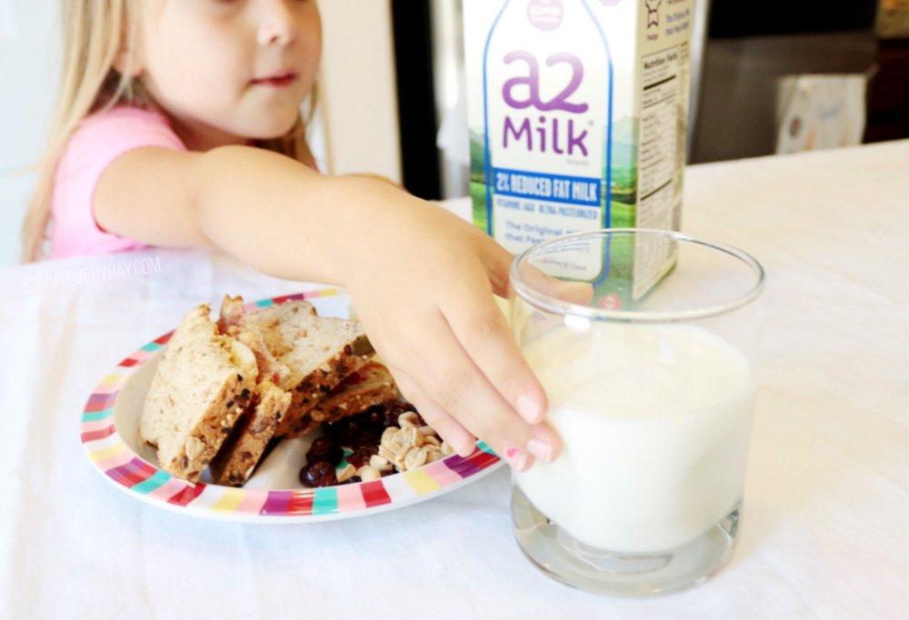 grabbing a glass of a2 milk
