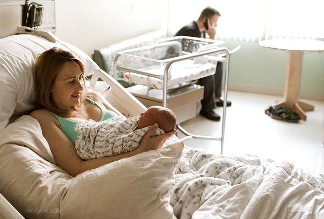 smiling at baby after birth